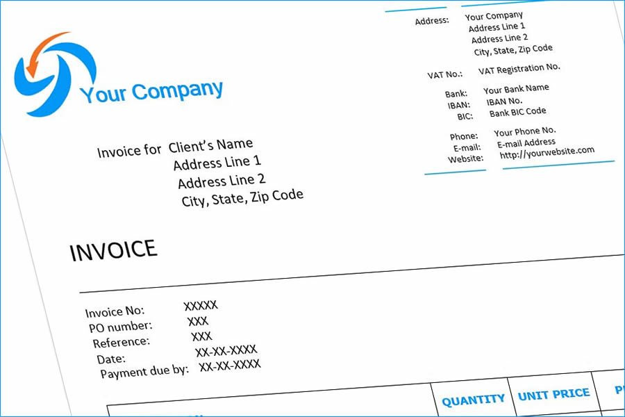 Example invoice template