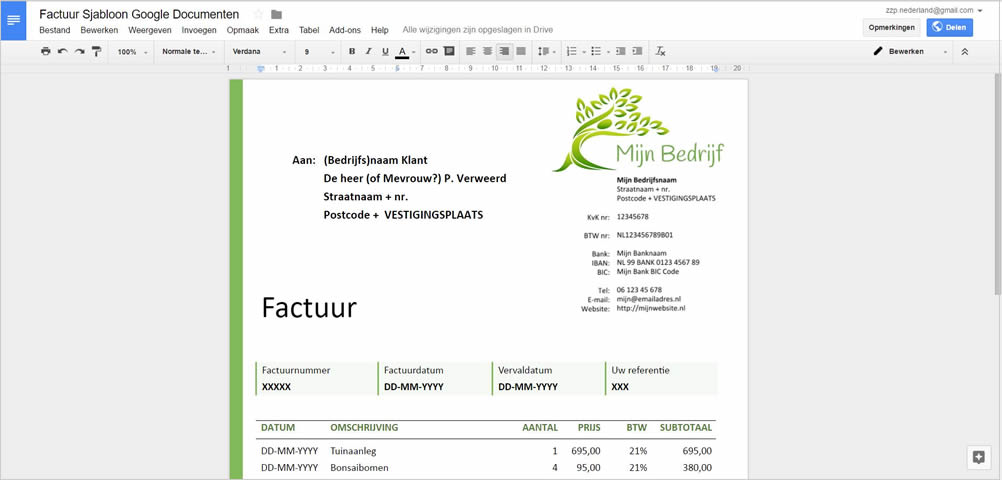 Google Documenten (Docs) voor factuur