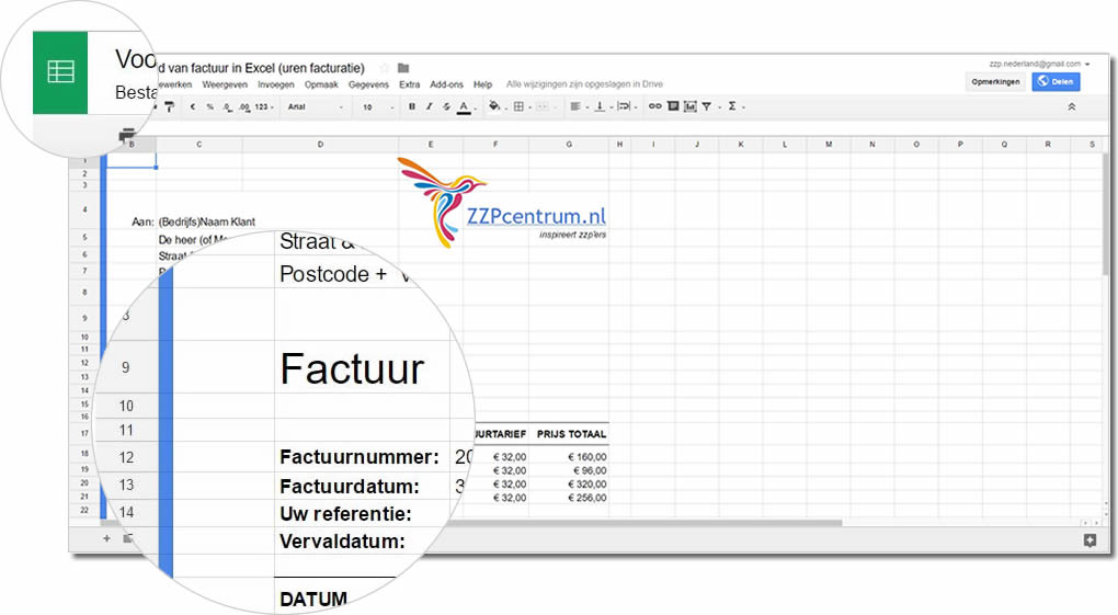 Spreadsheet Factuur Sjabloon