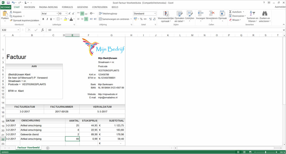 factuur excel download Bekijk en download gratis voorbeeld factuur in Excel