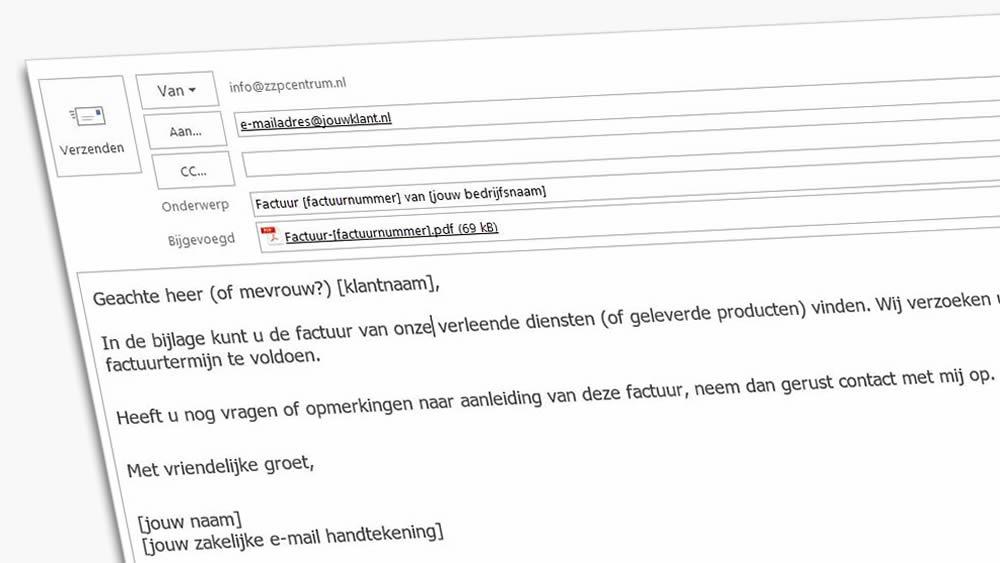 Voorbeeld begeleidende tekst bij factuur per e mail