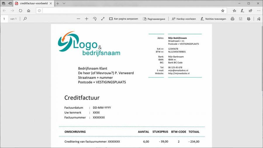 Voorbeeld creditfactuur in PDF