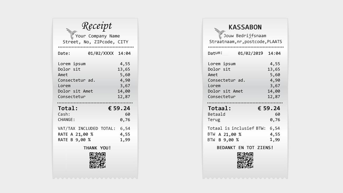 Vergelijk kassabon Engels en Nederlands