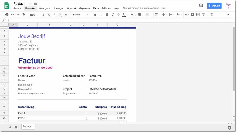 Gratis factuur software Google Spreadsheets