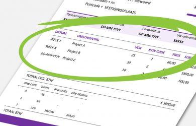 Voorbeeld van factuuromschrijving op nota, factuur en rekening