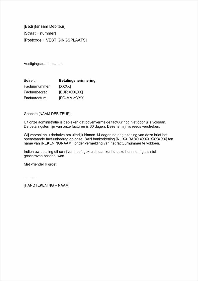 Formele voorbeeldbrief van 1ste betalingsherinnering