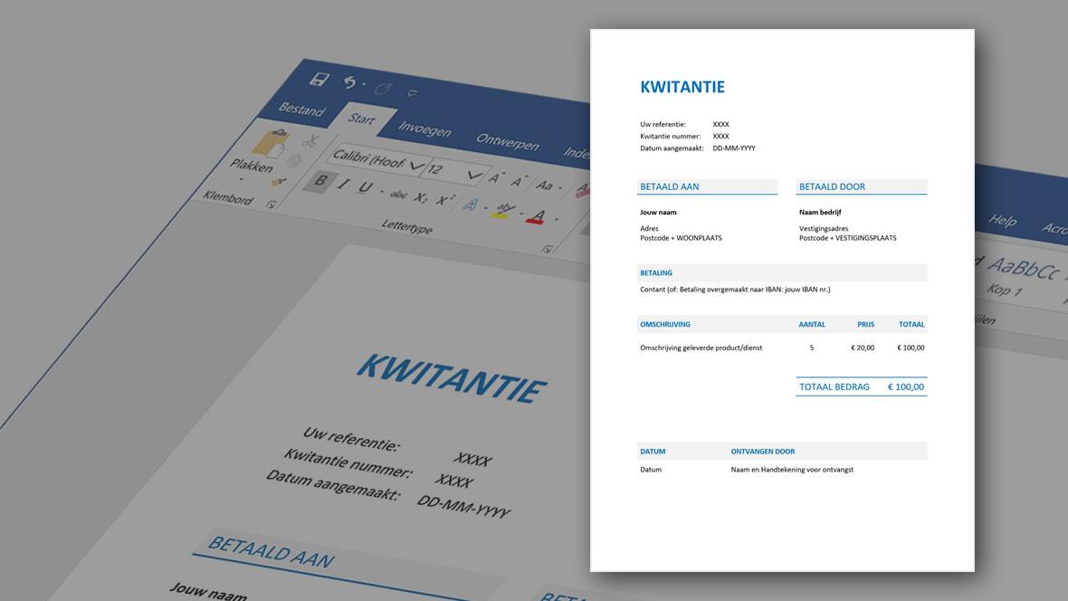 Voorbeeld van kwitantie als betaalbewijs gemaakt in Word