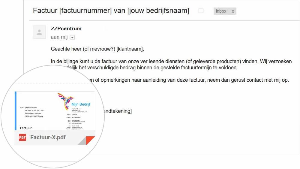 hierbij stuur ik u de factuur Voorbeeld begeleidende tekst bij factuur per e mail