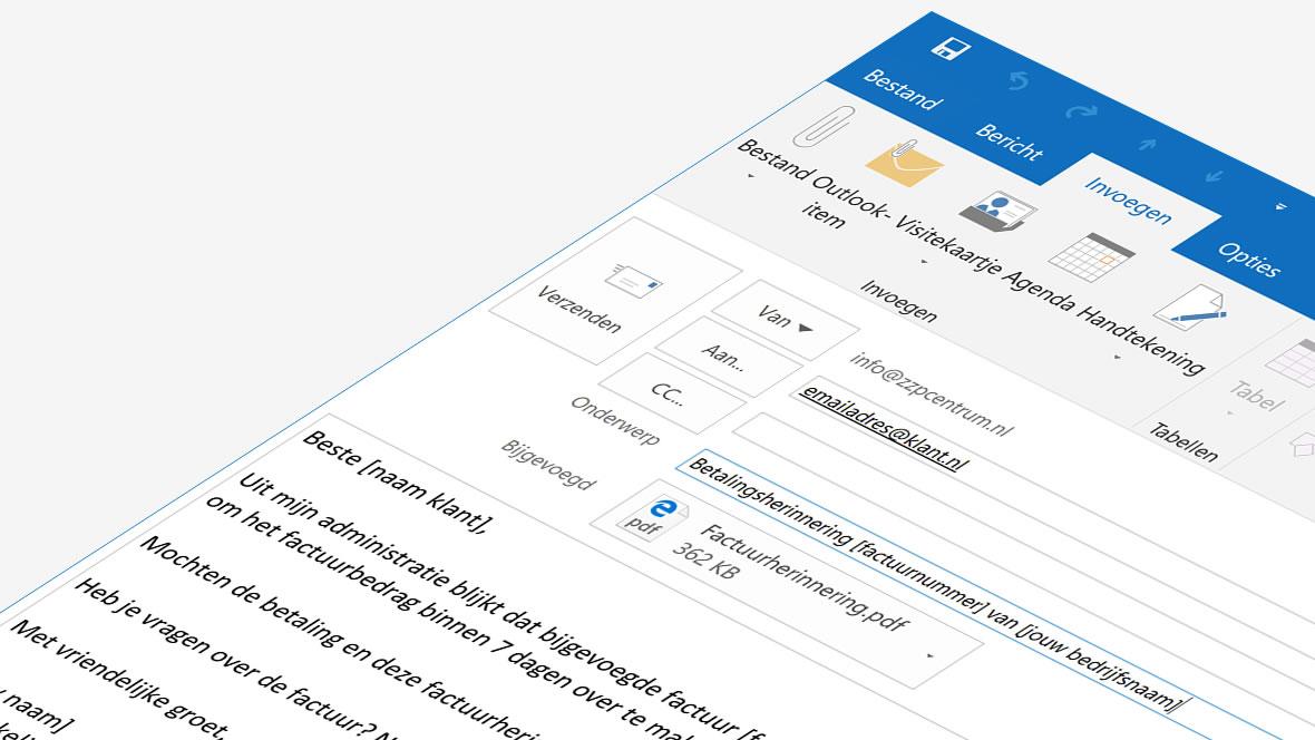 Begeleidend schrijven bij betalingsherinnering via e-mail