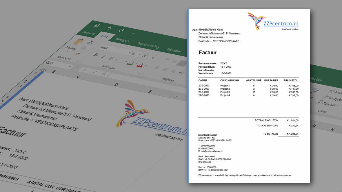 Voorbeeld gratis uren factuur Excel template