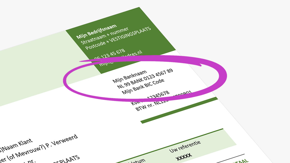 Zakelijke bankgegevens overzichtelijk op de facturatie