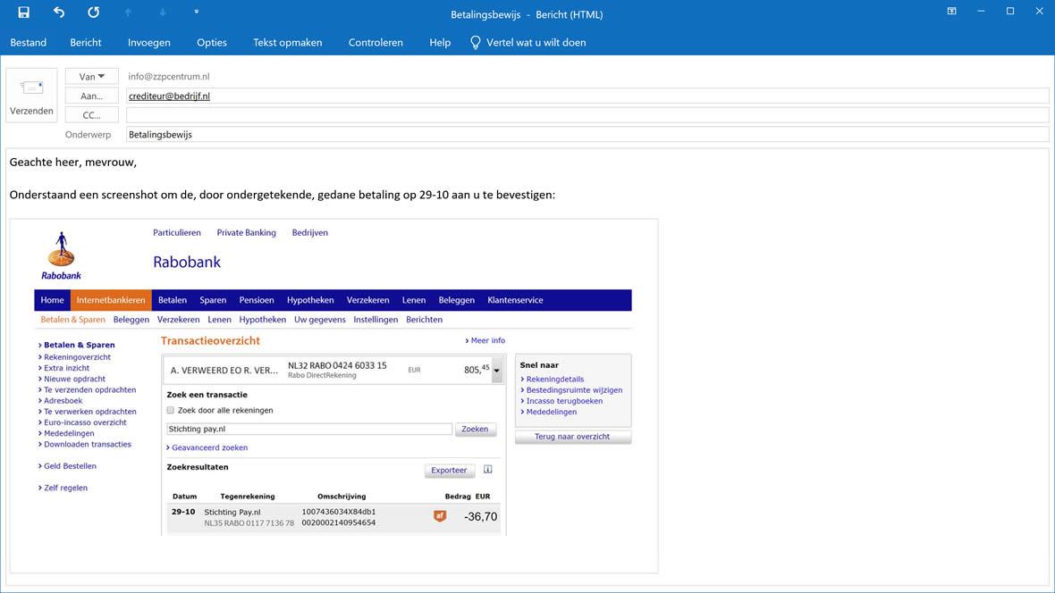 Screenshot van betalingsbewijs e-mailen
