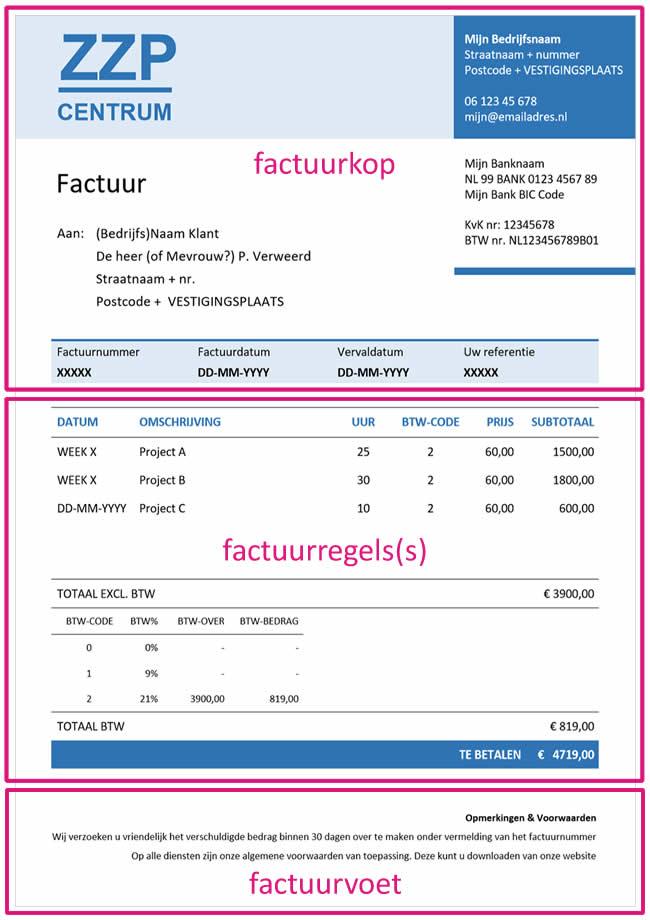 opbouw factuur voorbeeld factuur opbouw   Factuur.tips