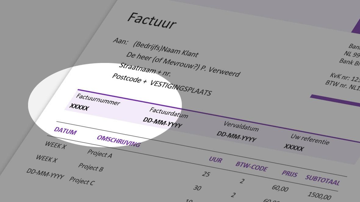 Voorbeeld van verplicht factuurnummer op factuur
