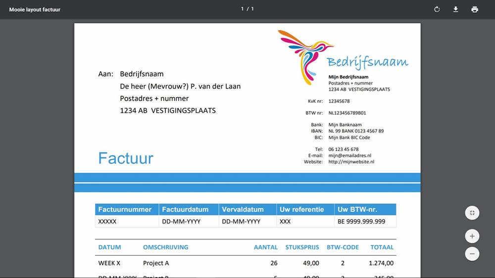 PDF-factuur voorbeeld voor zzp met eenmanszaak