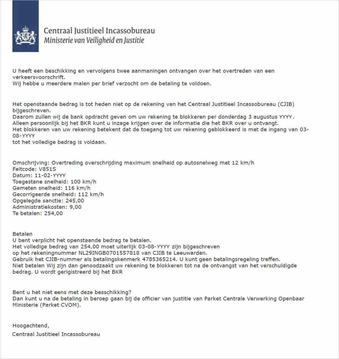 Valse bekeuring van CJIB via e-mail