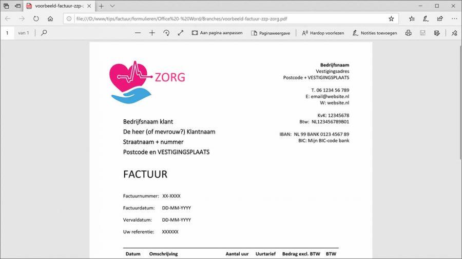 Zorgfactuur in PDF