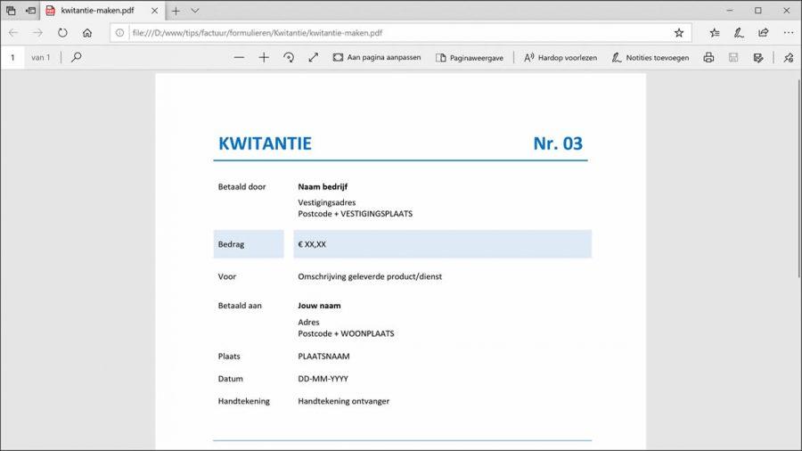 PDF kwitantie voorbeeld